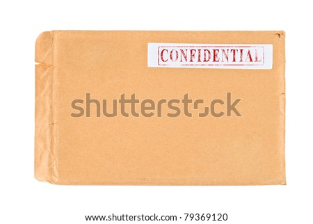 Used postal Confidential envelope, isolated on white background - stock photo