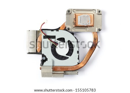 Used Processor notebook heat sink cooler fan isolated on white background - stock photo