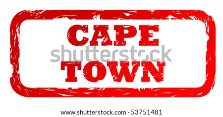 Used red Cape Town South Africa city travel passport stamp, isolated on white background. - stock photo