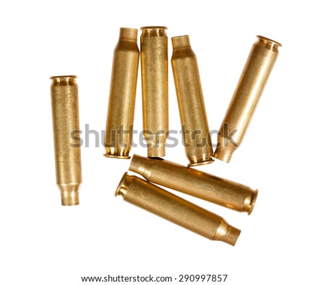 Used rifle cartridges isolated on white. - stock photo
