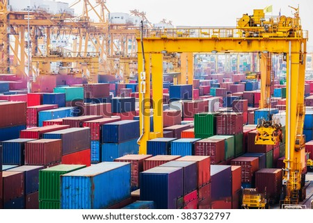 Used shipping containers - stock photo