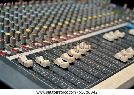 Used sound mixer - stock photo
