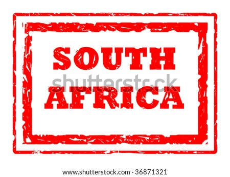 Used 2010 South Africa Football World Cup red stamp, isolated on white background. - stock photo