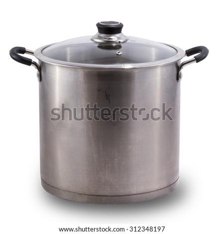Used stock pot isolated on white - stock photo