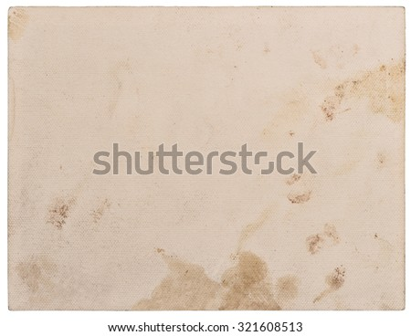 Used textured paper cardboard isolated on white background. Scrapbook object - stock photo
