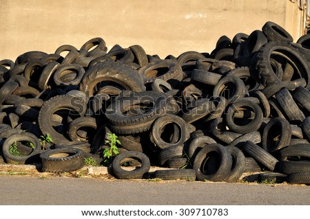 Used tires rubber - stock photo