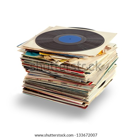 Used vinyl records with shaddow on white - stock photo