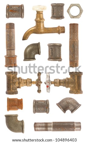 Used water pipes, valves and connectors collection on white background - stock photo