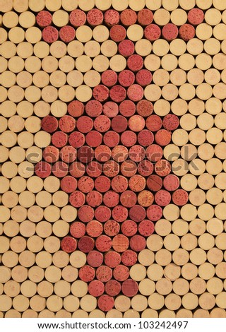 Used Wine Corks Grape Cluster Pattern for Background - stock photo
