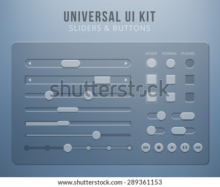 User interface elements with transparency. Button control, mobile sliders for website or web design - stock photo