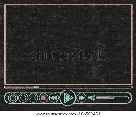 user interface: media player written on blackboard background, high resolution, easy to use - stock photo
