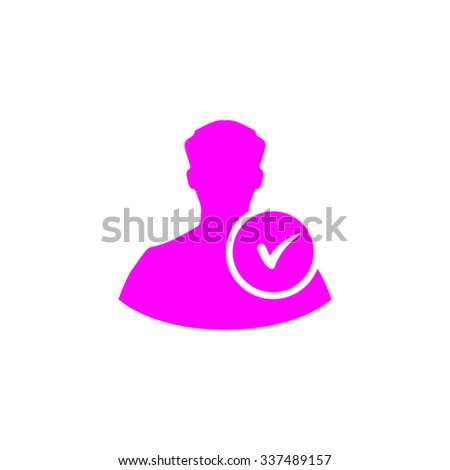 User profile web with check mark glyph. Pink icon on white background. Flat pictograph - stock photo