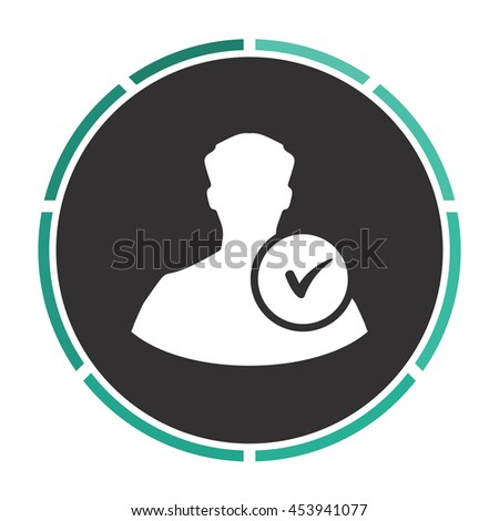 User profile web with check mark glyph. White circle button on black background - stock photo