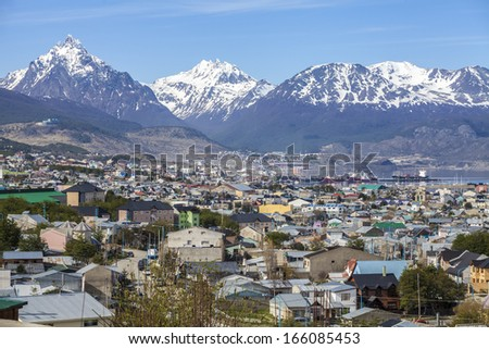 Ushuaia is the southernmost city in the world. It is located on the shores of the Beagle Channel, at the southern tip of Tierra del Fuego Island, Argentina. - stock photo