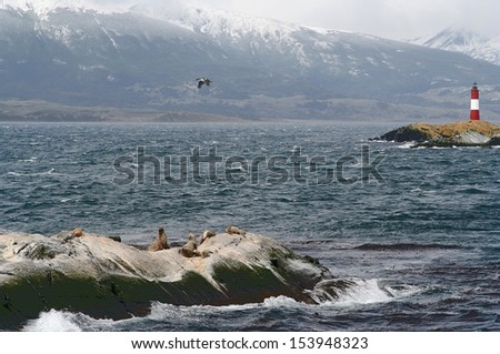 ushuaia lighthouse, called the world ends lighthouse - stock photo
