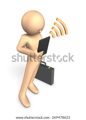 Using a tablet, to read the latest news. Businessman. High Angle View - stock photo