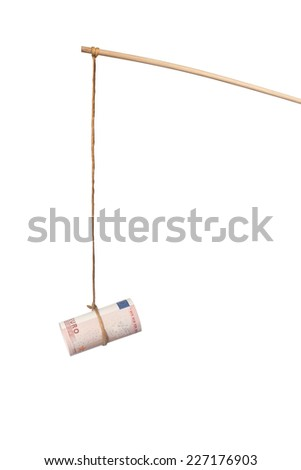 Using Euro as a bait isolated on white background  - stock photo