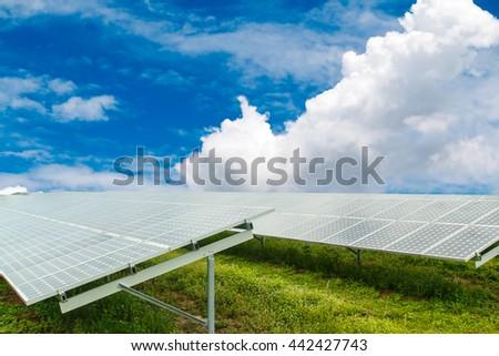 using renewable solar energy - stock photo