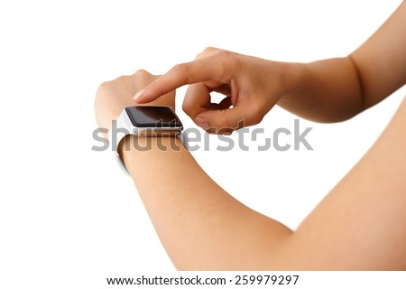 Using Touchscreen Smart Watch Isolated - stock photo