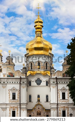 Uspenskiy Orthodox Cathedral, Kiev-Pechersk Lavra monastery in Kiev, Ukraine  - stock photo