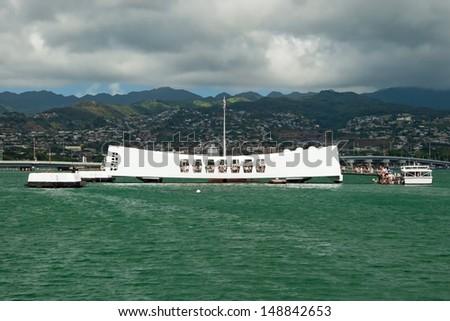 USS Arizona Memorial in Pearl Harbor in Honolulu Hawaii - stock photo