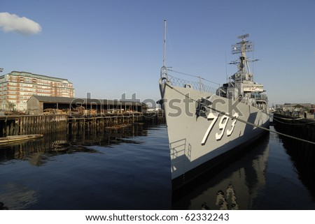USS Cassin Young, berthed at the Boston Naval Ship Yard.  It saw action in World War 2 as a destroyer.  It is now a float museum memorial ship - stock photo