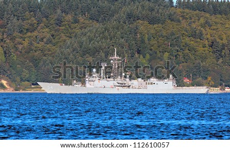 USS Ford - FFG 54 Guided Missile Frigate - stock photo