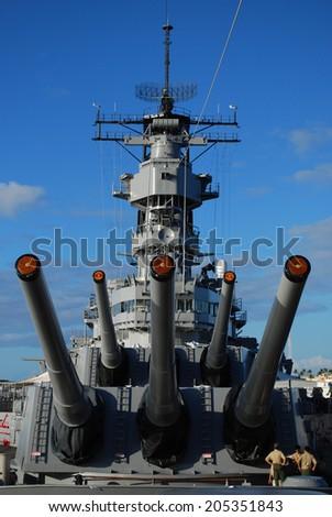 USS Missouri Battleship Guns - stock photo