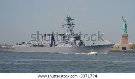 USS Oscar Austin DDG 79 in New York Harbor on May 23, 2007 during Fleet Week - stock photo