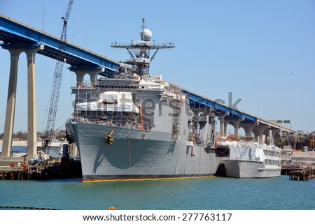 USS Pearl Harbor (LSD-52) is a Harpers Ferry-class dock landing ship of the United States Navy. She was named for Pearl Harbor, where World War II began for the United States. - stock photo