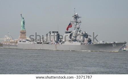 USS WINSTON S. CHURCHILL DDG-81 in New York Harbor on May 23, 2007 during Fleet Week - stock photo