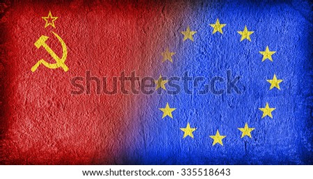 USSR and the EU, flags painted on cracked concrete - stock photo