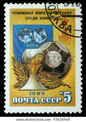 USSR - CIRCA 1985: A stamp printed by USSR shows football players. Junior World Championship, series, circa 1986 - stock photo