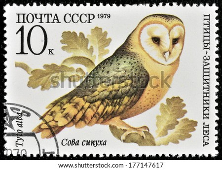 """USSR - CIRCA 1979: A stamp printed in USSR shows a Tyto alba, series """"Birds - the defenders of the forest"""", circa 1979  - stock photo"""