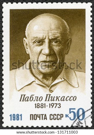 USSR - CIRCA 1981: A stamp printed in USSR shows  Birth Centenary of Pablo Picasso (1881-1973), artist, circa 1981 - stock photo
