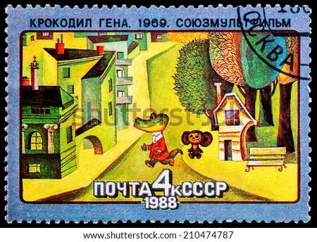 USSR - CIRCA 1988: A stamp printed in USSR shows Gena the Crocodile and Cheburashka, 1969, series Animated Soviet Cartoons, circa 1988  - stock photo