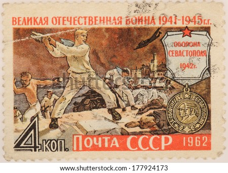 USSR - CIRCA 1962: A stamp printed in USSR shows man with granate, Great War 1941-1945, circa 1962 - stock photo