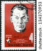 USSR - CIRCA 1965: A stamp printed in USSR shows portrait of Richard Sorge (1895-1944), Soviet spy and Hero of the Soviet Union, circa 1965 - stock photo