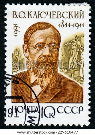 USSR - CIRCA 1991: A stamp printed in USSR shows Vasily Osipovich Klyuchevsky (1841-1911), series Russian Historians, circa 1991 - stock photo