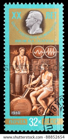USSR - CIRCA 1980: An airmail stamp printed in USSR shows a training spaceman, series, circa 1980. - stock photo