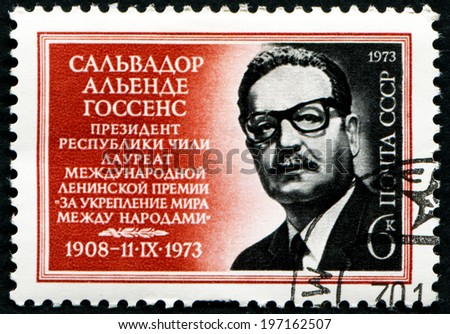 "USSR - CIRCA 1972: Postcard printed in the USSR shows Salvador Alende Gossens president of Chile winner of international Lenin award ""For world strengthening between the people"" 1908-1973, circa 1972 - stock photo"