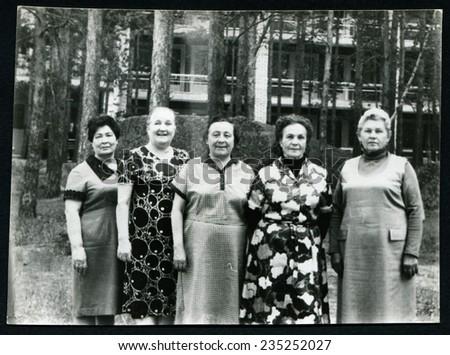 Ussr - CIRCA 1970s: An antique Black & White photo shows portrait of group womans - stock photo
