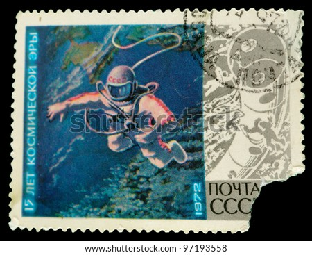 USSR - CIRCA 1972 : stamp printed in the USSR, showing first stay of man astronaut in the open space, circa 1972 - stock photo