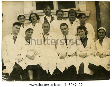 USSR - CIRCA 1941: Vintage photo shows hospital personnel, May 20, 1941 - stock photo