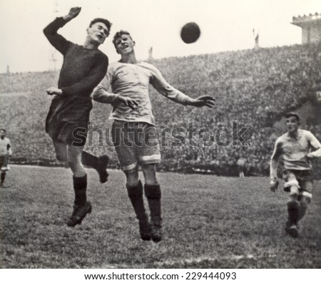 USSR - CIRCA 1946: Vintage photo shows soccer team, 1946 - stock photo