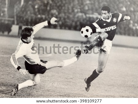 USSR - CIRCA 1987: Vintage photo shows soccer team, 1987 - stock photo