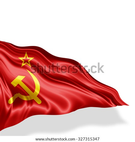 Ussr  flag of silk with copyspace for your text or images and white background - stock photo