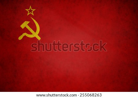 USSR, Soviet flag on concrete textured background - stock photo