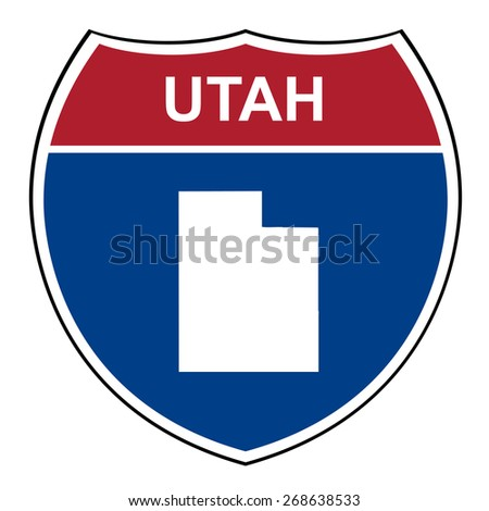 Utah American interstate highway road shield isolated on a white background. - stock photo