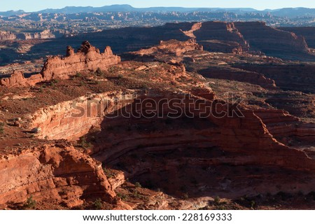Utah-Canyonlands National Park-Island in the Sky-White Rim Road- White Crack. Looking into Monument Canyon area - stock photo